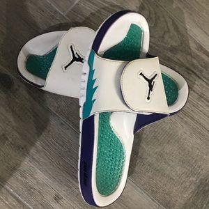 "Jordan Shoes - Air Jordan ""Grape 5"" slides size 12."